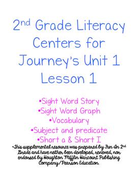 2nd Grade Journey's Unit 1 Lesson 1 Activities