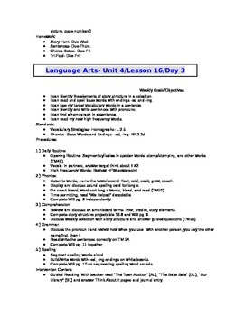 2nd Grade Journeys (2011 ed.) Daily Lesson Plans- Unit 4