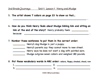2nd Grade Journeys 2014, Unit 1, Common Core Comprehension & Vocabulary