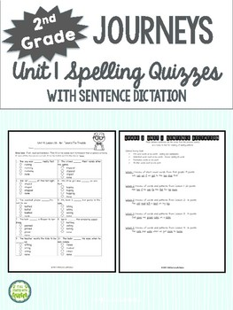 2nd Grade Journeys Unit 1 Spelling Quizzes and Sentence Dictation