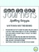 2nd Grade Journeys, Unit 1 Spelling Quizzes and Sentence D