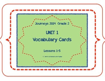 2nd Grade Journeys 2014 Unit 1 Vocabulary Card Bundle for
