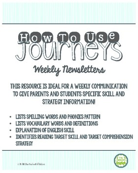 2nd Grade Journeys 2014, Unit 1 Weekly Newsletters