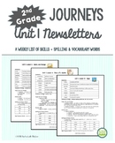 2nd Grade Journeys, Unit 1 Weekly Newsletters