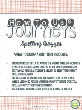 2nd Grade Journeys Unit 3 Spelling Quizzes and Sentence Dictation