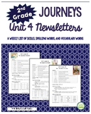 2nd Grade Journeys, Unit 4 Weekly Newsletters