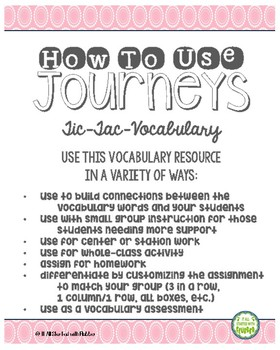 2nd Grade Journeys, Unit 5 Tic-Tac-Vocabulary