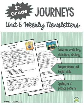 2nd Grade Journeys, Unit 6 Weekly Newsletters