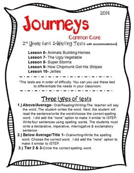 2nd Grade Journeys Common Core (2014) Unit 2 Spelling Test