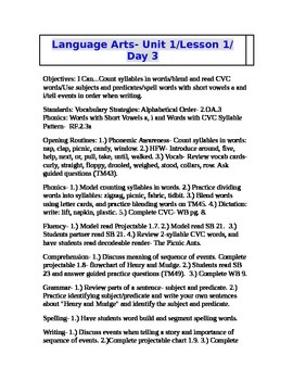 2nd Grade Journeys (2011 ed.) Daily Lesson Plans- Unit 1