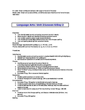 2nd Grade Journeys (2011 ed.) Daily Lesson Plans- Unit 2