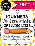 Differentiated Spelling Lists for Unit 3: 2nd Grade Journeys