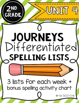 2nd Grade Journeys: Differentiated Spelling Lists for Unit 4