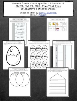 2nd Grade Journeys Lesson 11 Interactive Notebook Pages