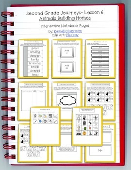 2nd Grade Journeys Lesson 6 Interactive Notebook Pages