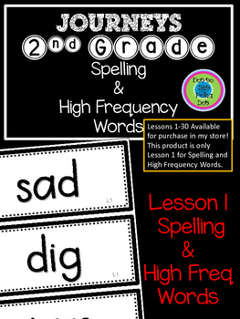 2nd Grade Journeys Spelling & High Freq Word Wall Cards ~