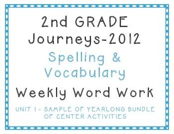 2nd Grade Journeys 2012 Spelling Vocabulary Centers SAMPLE