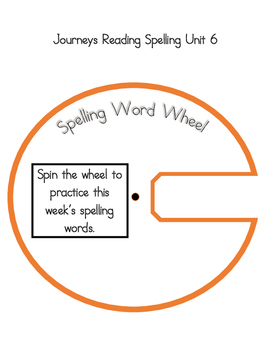 2nd Grade Journeys Spelling Wheels for Unit 6 Lessons 26-30