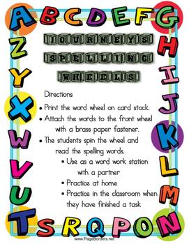 2nd Grade Journeys Spelling Wheels for Unit 6 Lessons 26-30