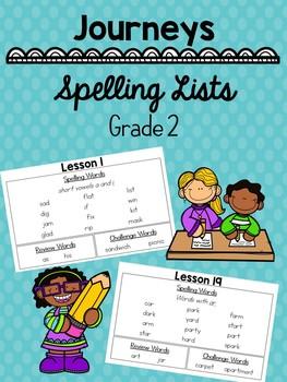 2nd Grade Journeys Spelling Word Lists