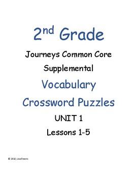 2nd Grade Journeys Unit 1 Vocabulary Crossword Puzzles