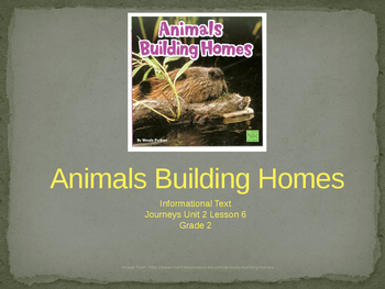 2nd Grade Journeys Unit 2, Lesson 6 Animals Building Homes