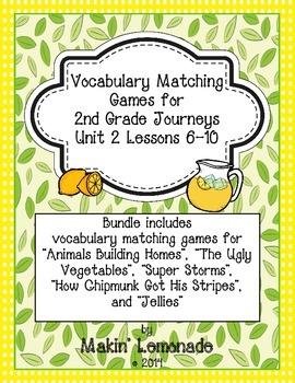 2nd Grade Journeys: Unit 2 Lessons 6-10 Vocabulary Match Game Bundle