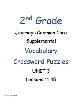2nd Grade Journeys Unit 3 Vocabulary Crossword Puzzles