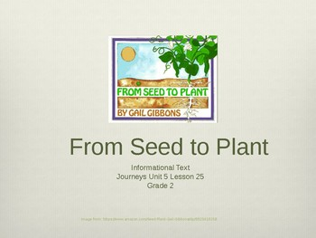 2nd Grade Journeys Unit 5 Lesson 25 From Seed to Plant
