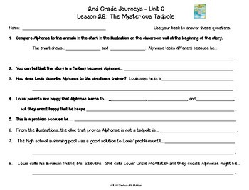 2nd Grade Journeys, Unit 6, Comprehension & Vocabulary
