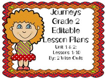 2nd Grade Journeys companionLesson 1-10 Editable Lesson Plans