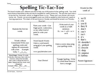 2nd Grade  - Jumbo Pack Spelling Tic Tac Toe