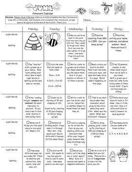 2nd Grade June 2016 Homework Calendar *Common Core Aligned*