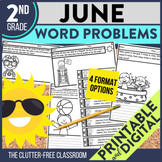 2nd Grade June Word Problems printable and digital math ac