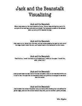 2nd Grade Junior Great Books- Jack & the Beanstalk Visualizing Passages