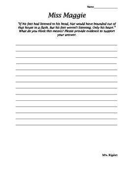 2nd Grade Junior Great Books- MISS MAGGIE Focus and/or Assesment questions