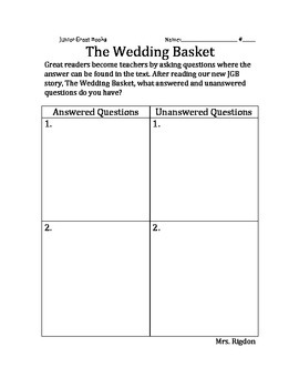 2nd Grade Junior Great Books- THE WEDDING BASKET Answered & Unaswered questions