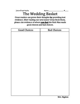 2nd Grade Junior Great Books- THE WEDDING BASKET Citing Text Evidence