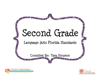 "2nd Grade LAFS Language Arts Florida Standards Checklist with ""I Can"" Statements"