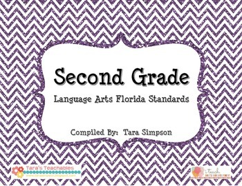 """2nd Grade LAFS Language Arts Florida Standards Checklist with """"I Can"""" Statements"""
