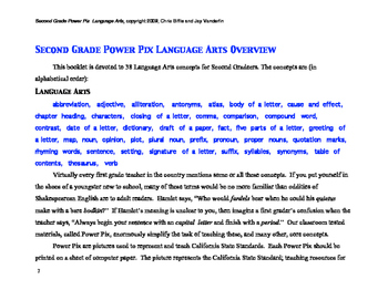 2nd Grade Language Arts Power Pix