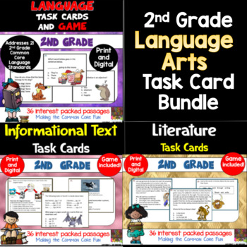 2nd Grade Language Arts Task Card Bundle