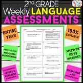 2nd Grade Language Assessments   2nd Grade Grammar Quizzes EDITABLE