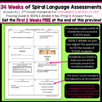 2nd Grade Language Assessments | Weekly Spiral Assessments for ENTIRE YEAR