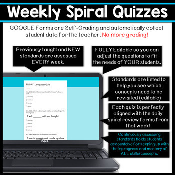 2nd Grade Language Spiral Review & Quizzes | Distance Learning Google Classroom