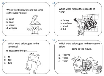 2nd Grade Language Task Cards and Game