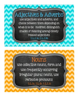 2nd Grade Language Tub Labels (with CCSS) - Chevron & Chalkboard!