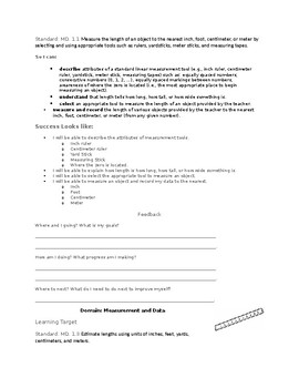 2nd Grade Learning Targets and Success Criteria Book (Measurement/Geometry)
