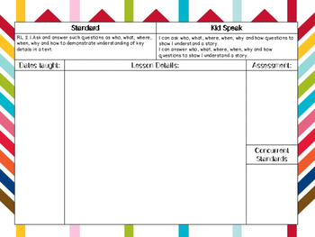 2nd Grade Literacy CCSS & Planning Pages