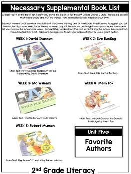 2nd Grade Literacy Unit Five: Fiction Authors